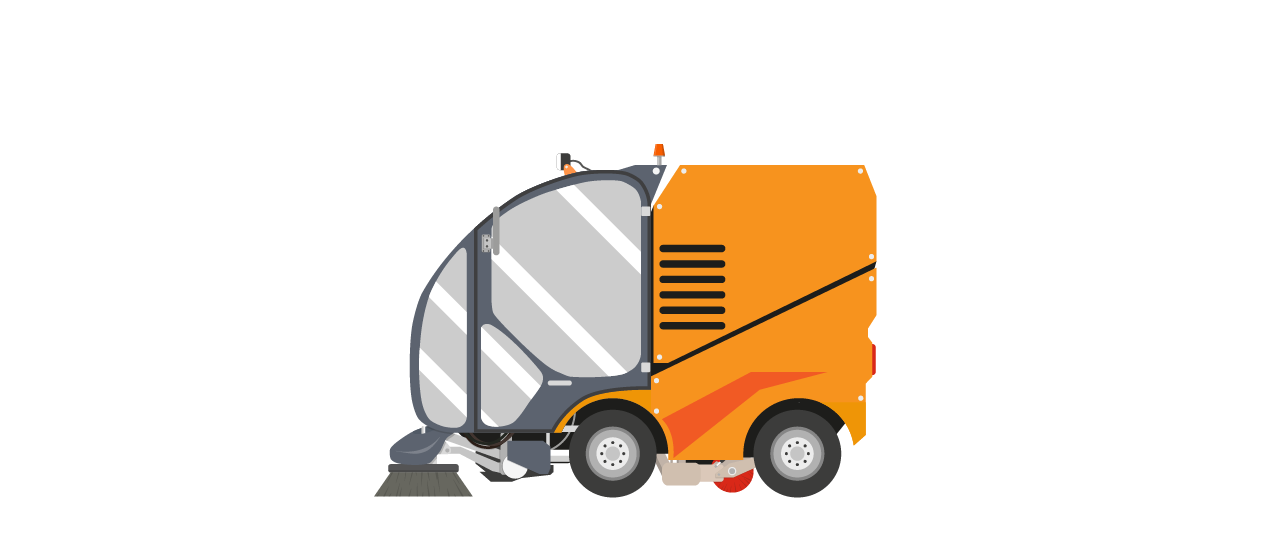 Sweeper vehicle orange