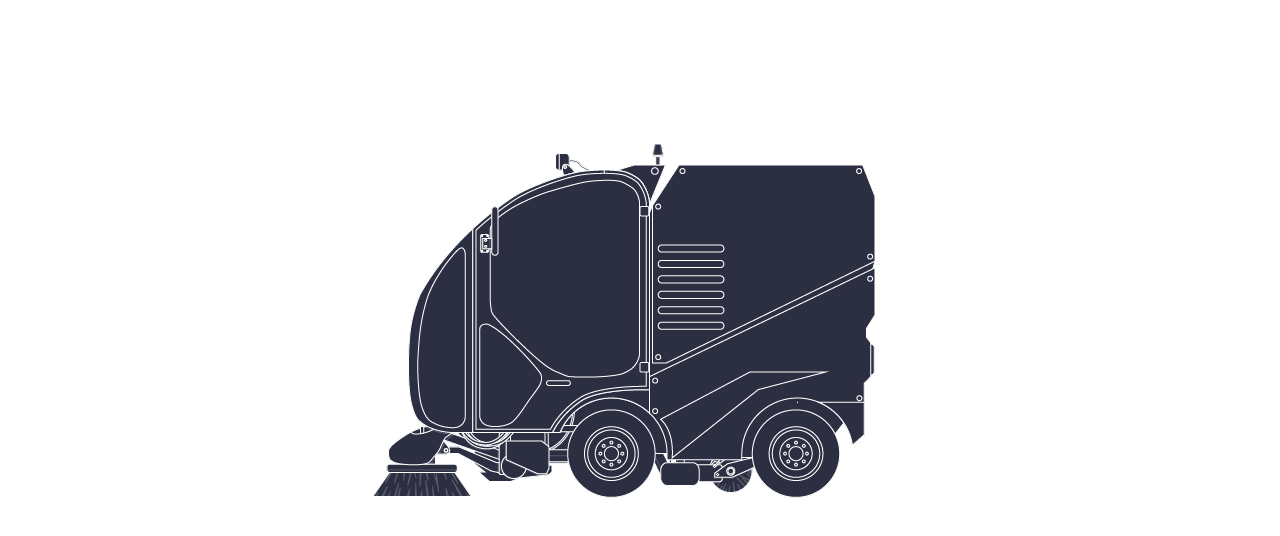 Sweeper vehicle purple