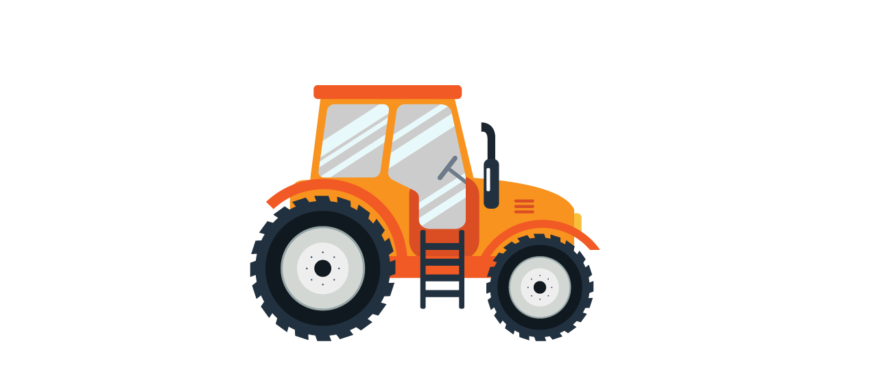 Agricultural vehicle tractor in orange