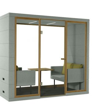 four person private office pod that eliminates external sound